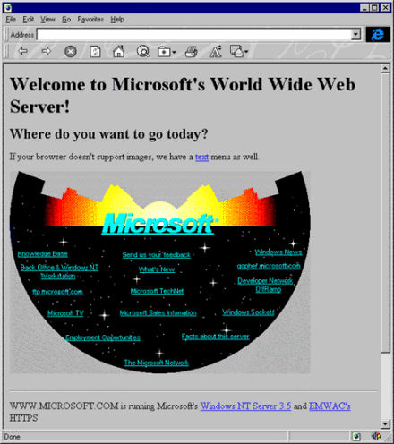 Microsoft Home Page circa 1994