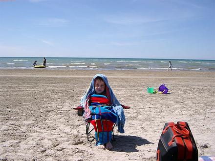 Matthew freezing at the beach